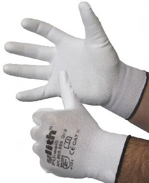 Nylon Feinstrick-Handschuhe mit weißer PU-Beschichtung, Cat II